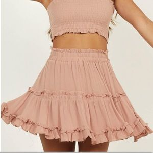 Showpo nude circle skirt boho small sm